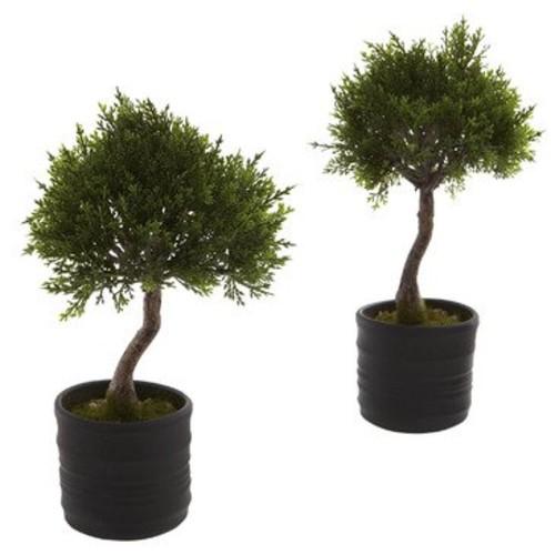 Nearly Natural Cedar Bonsai with Planter (Set of 2)