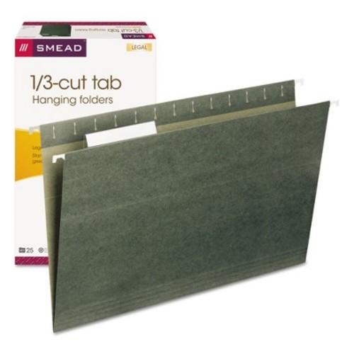 Smead 1/3 Tab Hanging Folders, 11 Point Stock, Legal- Green (25 per Box)