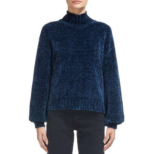 WHISTLES Chenille Mock-Neck Puff-Sleeve Sweater