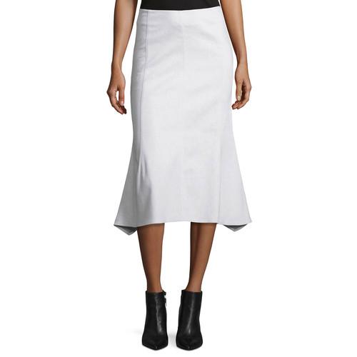 DEREK LAM Flared Cotton-Blend Midi Skirt, White