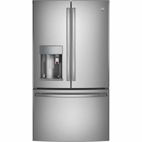 GE PYE22PBLTS Profile Series ENERGY STAR 22.2 Cu. Ft. Counter-Depth French-Door Refrigerator with Keurig K-Cup Brewing System