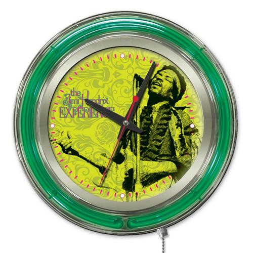 Jimi Hendrix Microphone and Guitar Double Neon Ring Logo Wall Clock