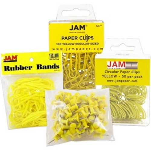 JAM Paper Office Supply Assortment, 1 pack Rubber Bands, Push Pins, Paper Clips, Round Paperclips, Yellow, 4/pack (3224YEOASRT)