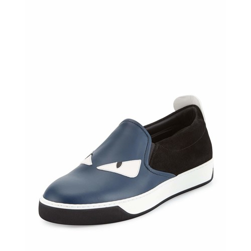 FENDI Monster Leather & Suede Slip-On Sneaker, Blue