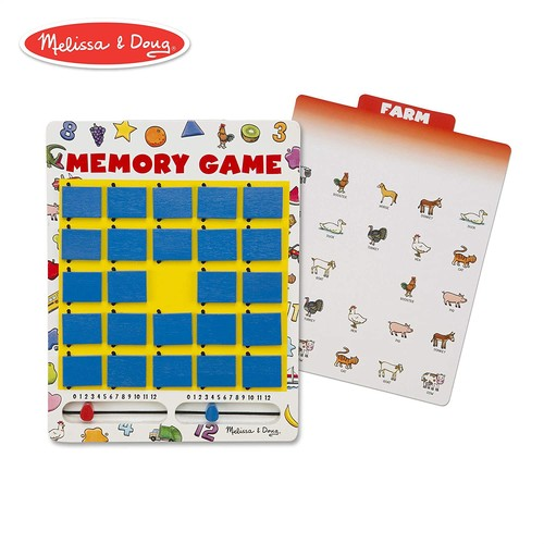 Melissa & Doug Flip to Win Travel Memory Game - Wooden Game Board, 7 Double-Sided Cards