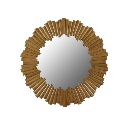 Charles Round Mirror in Nutmeg design by Selamat