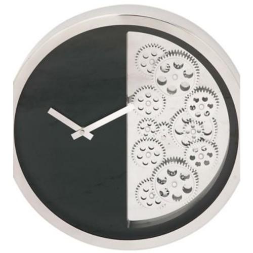 Cole & Grey Stainless Steel Gear 18'' Wall Clock; Black