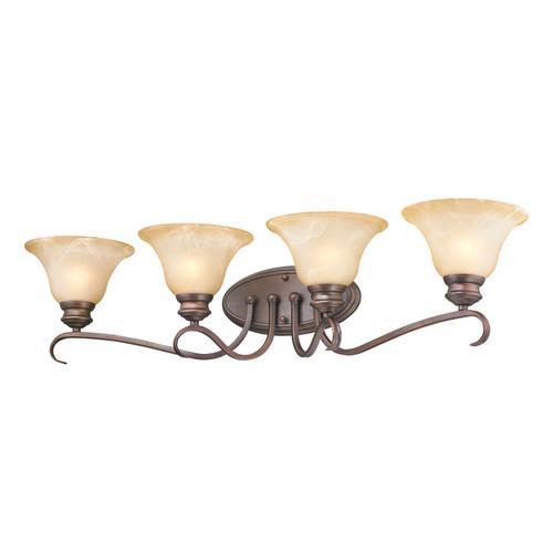 Golden Lighting Lancaster Rubbed Bronze Finish Steel 4-light Bathroom Vanity Fixture