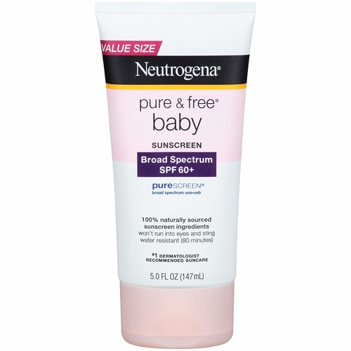 Neutrogena Pure & Free Baby Sunscreen Lotion Broad Spectrum SPF 60+, 5 Fl. Oz [5 Ounce, SPF 60 Lotion]
