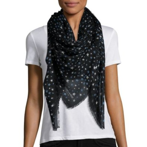 SAINT LAURENT Star-Print Cashmere & Silk Scarf