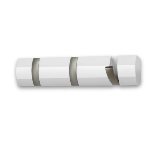 Umbra Flip 3-Hook Wall-Mount Rack/Rail, White/Nickel [White, 3 Hook]