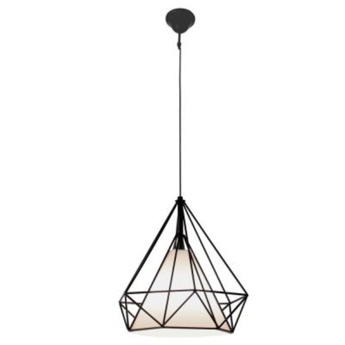 BAZZ 1-Light Vintage Black Cage Pendant with White Fabric Shade