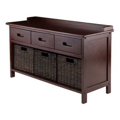 Adriana Entryway Storage Bench with Woven Baskets Walnut - Winsome