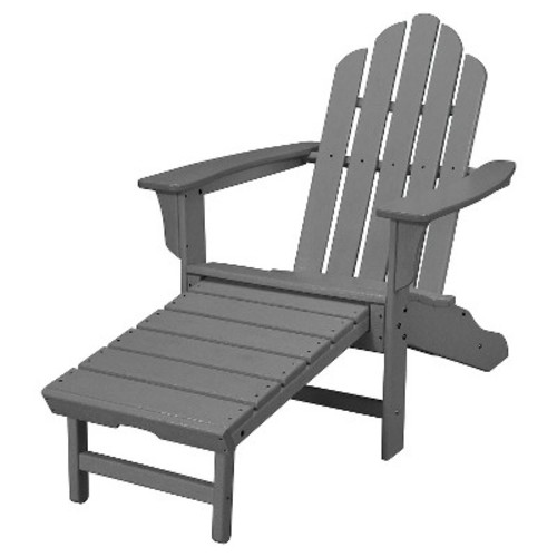 Hanover All-Weather Contoured Adirondack Chair with Hideaway Ottoman- Grey