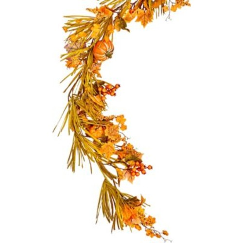 Alcott Hill 60'' Fall Garland w/ Long Grasses, Berries, Pumpkins and Leaves