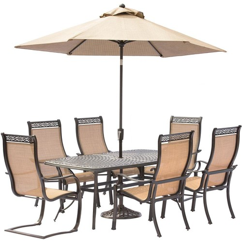 Hanover Manor 7-Piece Aluminum Rectangular Outdoor Dining Set with 2 Spring Sling Chairs, Cast-Top Table, Umbrella and Base