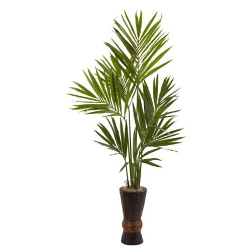 Nearly Natural 6 ft. Kentia Tree with Bamboo Planter