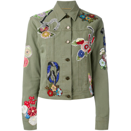 SAINT LAURENT Embroidered Patch Denim Jacket