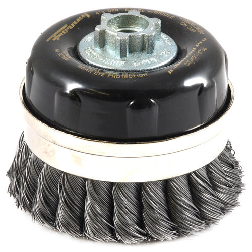 Forney 72869 Wire Cup Brush, Industrial Pro Twist Knot with Bridle 5/8-Inch-11 and M14-by-2.0 Multi Arbor, 4-Inch-by-.020-Inch
