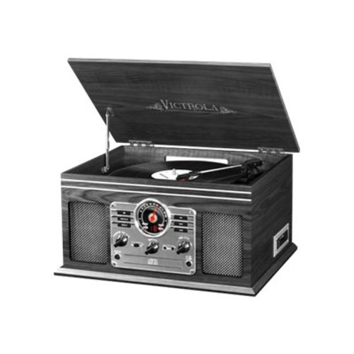 Victrola VTA-200B GH Wooden 6-in-1 Nostalgic Record Player with Bluetooth and 3 Speed Turntable, Graphite
