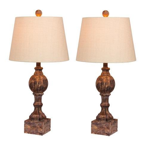 Fangio Lighting 26.5 in. Pair of Distressed Column Resin Table Lamps in a Cottage Antique Brown