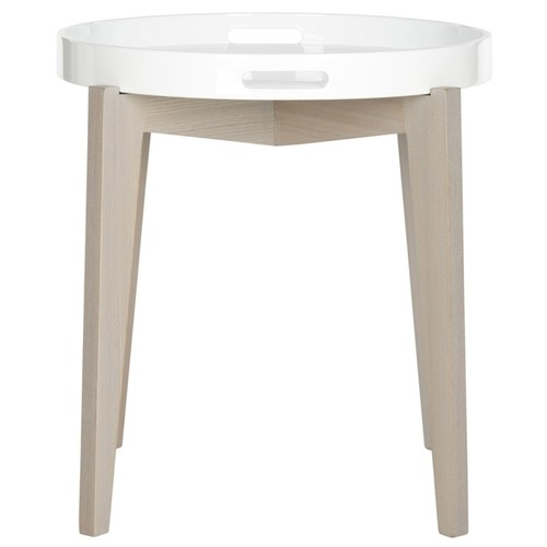 Safavieh Ben White and Grey Lacquer Side Table