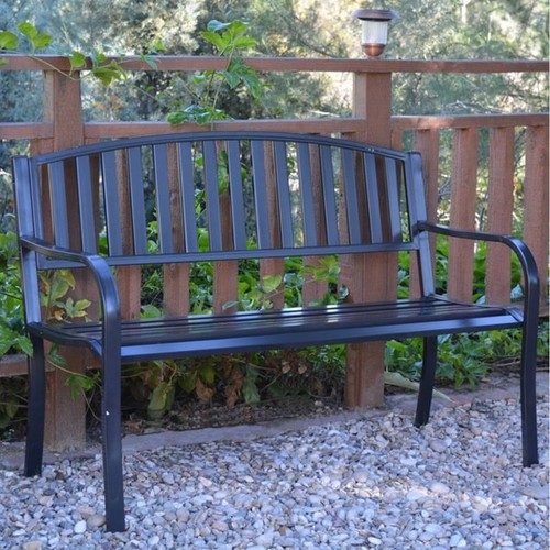 50-inch Long Strap Curved Back Steel Park Bench