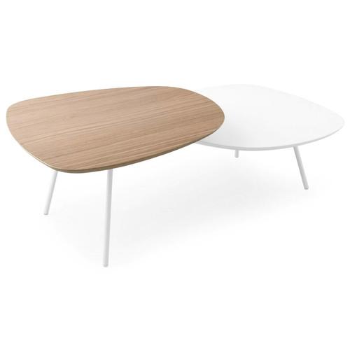 Tweet Coffee Table [Frame\/Table Top 1 : P94 Matt Optic White Metal\/ P94 Matt Optic White Lacquer; Table Top 2 : P94 Matt Optic White Lacquer]