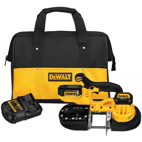 DEWALT 20-Volt MAX Lithium-Ion Cordless Band Saw Kit with Battery 5Ah, Charger and Contractor Bag