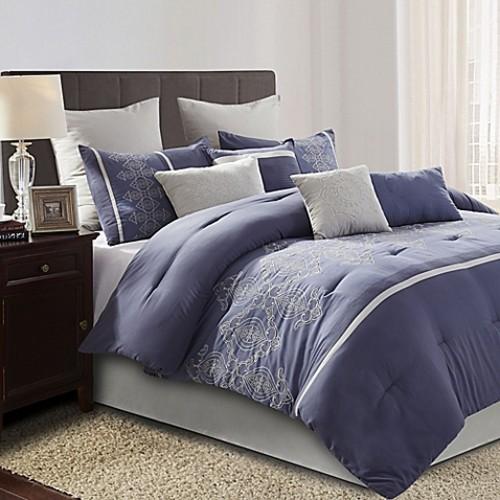 Audrey 10-Piece Queen Comforter Set in Blue