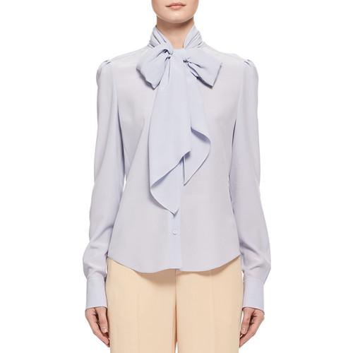 CHLOE Silk Crepe Long-Sleeve Tie-Neck Blouse