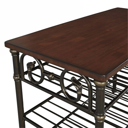 Home Styles Richmond Hill Black Kitchen Utility Table with Wood Top