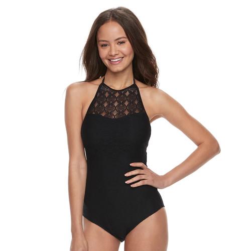 Crochet High-Neck One-Piece Swimsuit