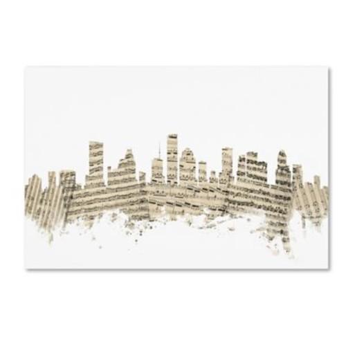 Trademark Fine Art ''Houston Texas Skyline Sheet Music'' by Michael Tompsett 22