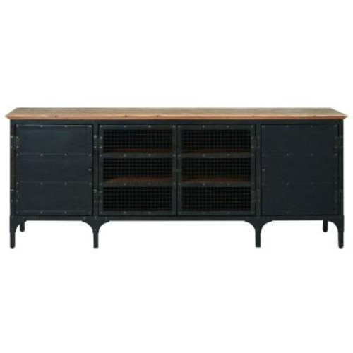 Home Decorators Collection Ambrose Natural and Black Storage Entertainment Center