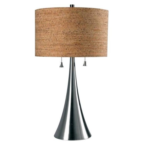 Kenroy Home Bulletin 30 in. Brushed Steel Table Lamp