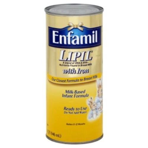 Enfamil Lipil Infant Formula, Milk-Based with Iron, Ready to Use, 1 qt (946 ml)