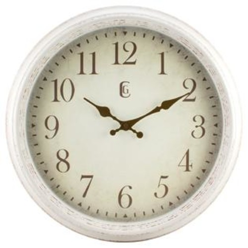 La Crosse Technology La Crosse Off White Plastic 16-inch Round Antique Patina Wall Clock