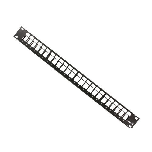Leviton 49255-H24 QuickPort Patch Panel, 24-Port, 1RU, Cable Management Bar Included [24 Port - 1RU]