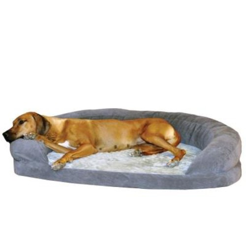 K&H Pet Products Ortho Bolster Sleeper Extra Large Gray Velvet Dog Bed