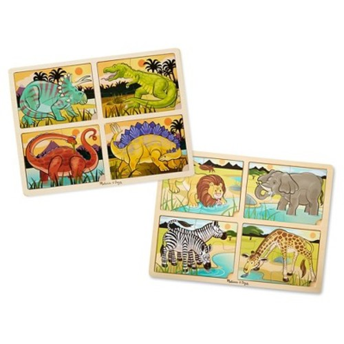 Melissa & Doug 4-in-1 Wooden Jigsaw Puzzles Set - Dinosaurs and Safari 32pc
