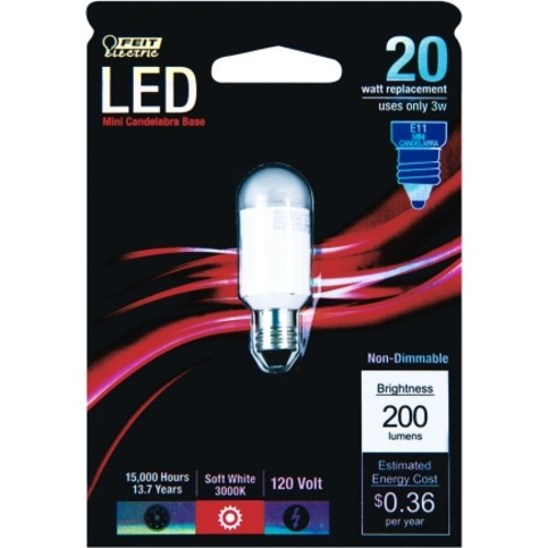FEIT Electric LED Light Bulb 3 watts 200 lumens Speciality 2 in. Soft White 1 pk(MC/LED)