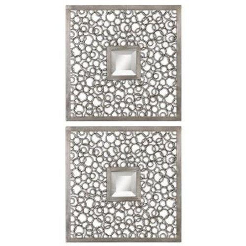 Global Direct 20 in. x 20 in. Antique Silver Square Framed Mirror