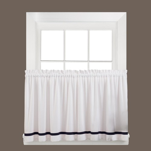 Saturday Knight Semi-Opaque Kate 36 in. L Polyester Tier Curtain in Black (2-Pack)