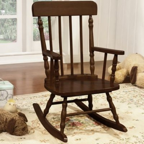 Harriet Bee Della Kid's Solid Pine Wood Rocking Chair; Espresso