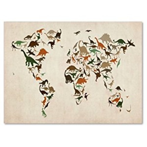 Dinosaur World Map 2 by Michael Tompsett work, 14 by 19-Inch Canvas Wall Art [14 by 19-Inch]