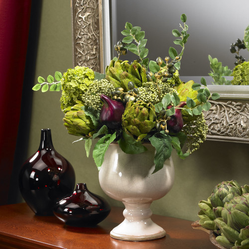 Artichoke and Hydrangea Silk Centerpiece in Decorative Vase