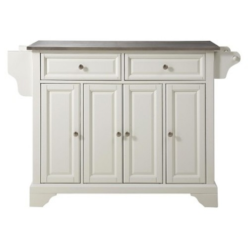 LaFayette Kitchen Island with Stainless Steel Top in White