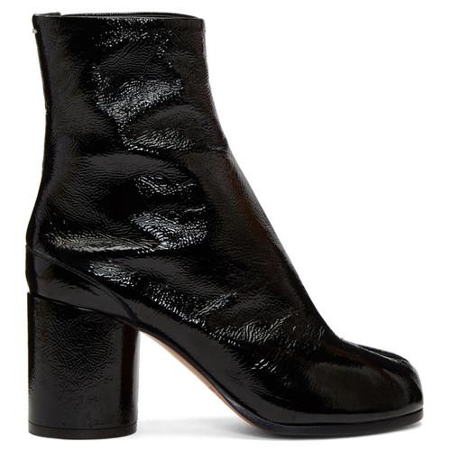 Black Patent Tabi Boots