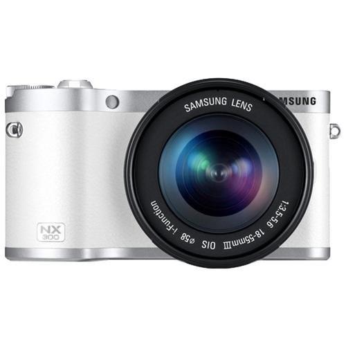 Samsung NX300 Smart Wi-Fi Digital Camera Body & 18-55mm Lens (White) with 50-200mm Lens + 32GB Card + Backpack + Battery + Tripod + Filter + Tele/Wide Lens Kit - EV-NX300ZBQUUS-76455-Kit